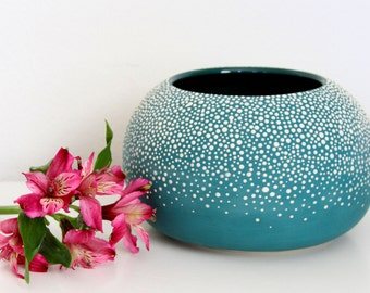 Large Round Vase - Large Orb Pebble Vase in Teal - Round Pottery Vase with Dots