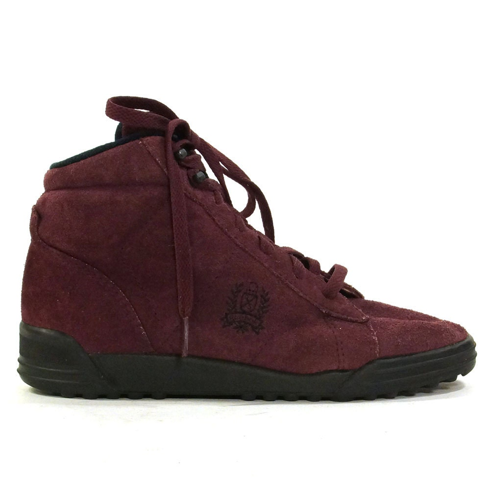 suede reebok high top tennis shoes in cranberry suede