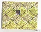 Green Rose Damask Memory Board French Memo Board, Fabric Ribbon Bulletin Memo Board, Office Decor, Gift For Her