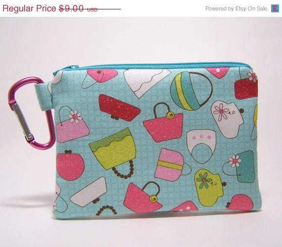 50% Off Discontinued Carabiner Coin Purse Aqua Purses