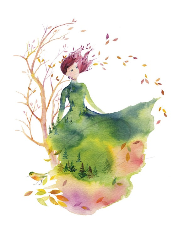 Fallen Leaves Art Print Fashion Sketch Design Autumn