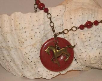 Red Jasper & Brass Prancing Horse Necklace