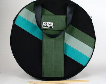 Green striped Cymbal Bag/Backpack