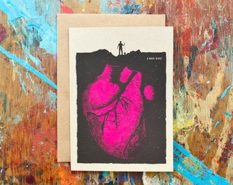 I Dig You (DIG-01) Anatomical Heart Love Morbid Funny Valentine Hot Pink Black Kraft Paper Blank Inside Screen Print