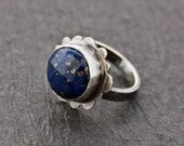 Lapis Lazuli sterling silver and Oxidized Scalloped Ring Artisan Jewelry