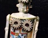 Robot jewelry gears brooch steampunk, cyber punk silver   gears kitsch handmade Christmas gift for her