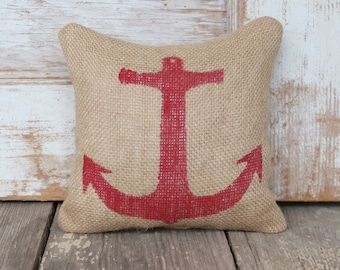 Anchor  - Burlap Feed Sack Doorstop - Nautical  Design - Door Stop