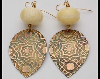 ANCIENT MOROCCO - Handforged Embossed Patinated Bronze Moroccan Tile - Amber - Statement Earrings