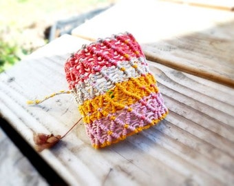 Wide Colorful Macrame Hemp Bracelet