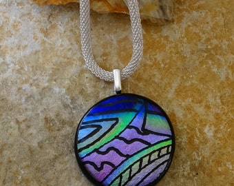Round Dichroic Fused Glass Pendant, Hand Etched Holiday Ornament, Fused Glass Pendant, Hand Etched Focal Pendant - Holiday Jewelry