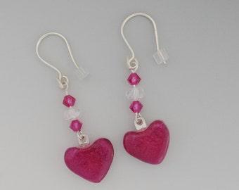 Pink Heart Earrings, Valentine Earrings, Dichroic Glass Earrings, Fused Glass Earrings, Glass Heart Earrings, Swing Earrings, Beaded Hearts