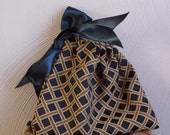 Gift Bag Black and Gold Brocade with Black Satin Ribbon
