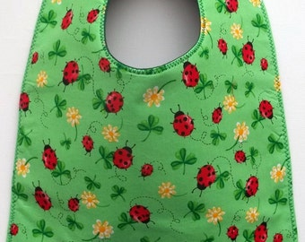 Ladybugs and Clovers and Flowers Toddler Bib