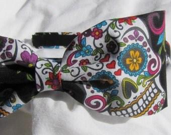 Sugar Skull Bow Tie Headband Hairband