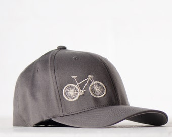 large -  XL MOUNTAIN BIKE flexfit fitted hat, cream embroidery on charcoal cap