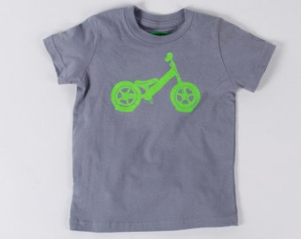 BALANCE BIKE 6T  T-shirt Neon Green on Slate Gray Toddler Tee