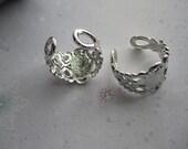 Finger Rings Adjustable Monogram Style Silver Tone Plated Brass Filigree Finger Rings on Etsy