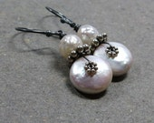 White Pearl Earrings June Birthstone Earrings Coin Pearl Earrings Oxidized Sterling Silver Earrings