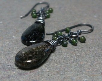 Green Rutilated Quartz Earrings Jade Cluster Earrings Oxidized Sterling Silver Earrings
