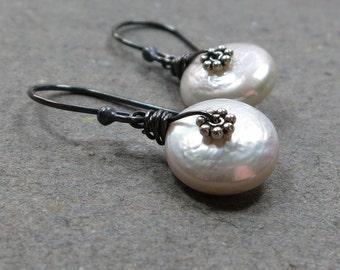 White Pearl Earrings June Birthstone Earrings White Coin Pearl Earrings Sterling Silver Earrings