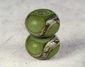 Army Green Handmade Lampwork Glass Beads, Lampwork Bead Pair,  Handmade Lampwork, Green Beads, Organic Web, Glossy 11x7mm Army Green