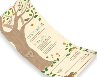 25 Rustic Tree Seed Paper Seal and Send Wedding Invitations