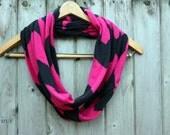 Magenta & Black Chevron Jersey Knit Infinity Scarf