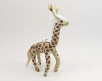 READY TO SHIP Vintage Style Spun Cotton Giraffe Ornament/Figure
