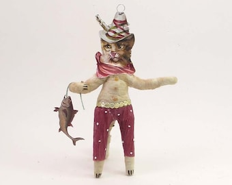 Vintage Inspired Spun Cotton Fishing Kitty Figure/Ornament