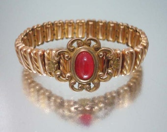 Art Deco Expansion Bracelet Stretch Red Cabochon Scroll Center