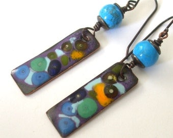 Abstract Art Earrings Enameled Copper Dangle Earrings Multi Color Earrings