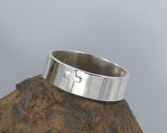 Sterling Silver Wide Band Cross Ring