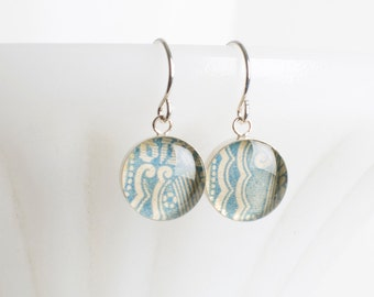 Drop earrings | Postage stamp | Austria | Blue | Dangle