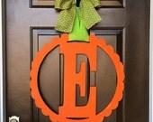 Custom initial MONOGRAM Circle w/ Scalloped Edge/door hanger/fall pumpkin wreath/ orange/ autumn/24 inch/chevron/wooden