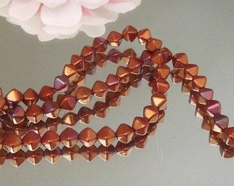 25 Pressed Czech Glass Bronze Iris Bicone- 6mm- Bastet's Beads