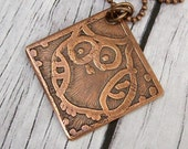 Owl Copper Pendant or Necklace Hand Etched