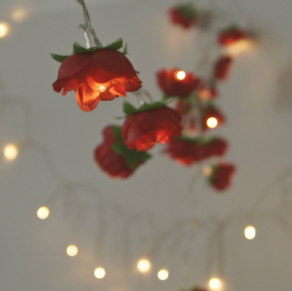 String Of Red Christmas Lights : Christmas Red Fairy Lights Pretty Rose Flower String Lighting