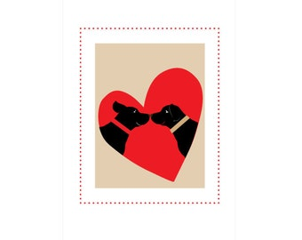 Greeting cards Black Labs framed in heart note  cards