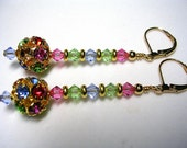 Sparkling Rhinestone Rainbow Disco Ball Earrings in Gold
