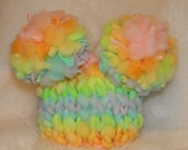Pastel Rainbow Double Fluff Baby Hat Photography Prop Ready to Ship