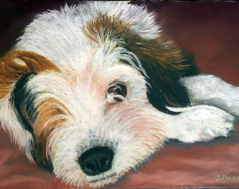 18x24 Pet Portrait original painting in either oil paints or soft pastels made to order FREE SHIPPING