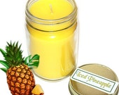 Iced Pineapple Mason Jar Candle Fruit Scent 12 Oz Handmade