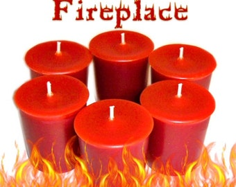 6 Fireplace Votive Candles Woodsy Earthy Smoky Scent