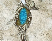 Seahorse Ornament - Clay and Glass
