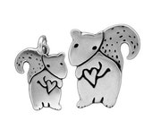 Mother Daughter Squirrel Necklace Set - Sterling Silver Squirrel Pendants