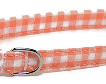 XS Dog Collar - Orange Gingham - Size Extra Small Miniature Teacup - Cute, Pretty and Fancy