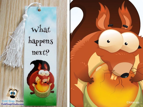 "3 Pack: Curious Squirrel ""What Happens Next?"" Hooked on Reading Good Book Bookmarks"