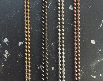 Ball Chain Necklace - 36in. Bronze Gunmetal Silver or  Copper