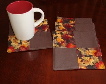 fabric coasters patchwork quilted, set of 4 mug rugs reversible Thanksgiving fall autumn leaves brown orange gold