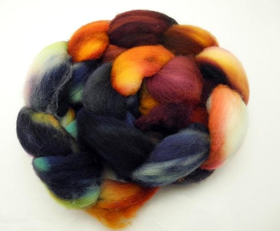 Gasoline Rainbow - Hand Dyed Roving - Spinning Fiber - BFL - Falkland - Shetland - Targhee- Cheviot - Dyed to Order